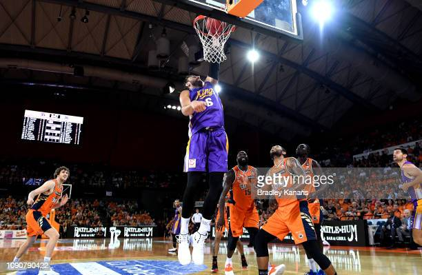 Andrew Bogut of the Kings slam dunks during the round 12 NBL match between the Cairns Taipans and the Sydney Kings at Cairns Convention Centre on...