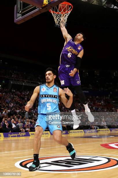 Andrew Bogut of the Kings slam dunks during the round six NBL match between the Sydney Kings and the New Zealand Breakers at Qudos Bank Arena on...