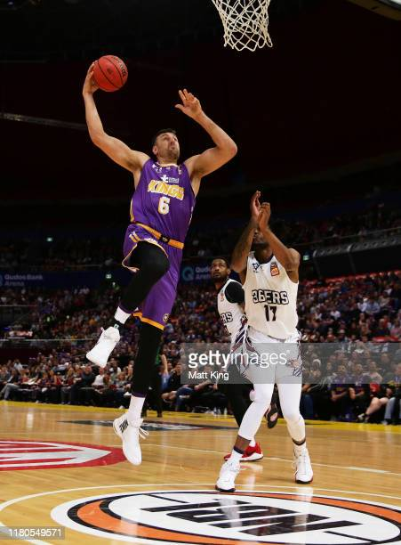 Andrew Bogut of the Kings slam dunks during the round two NBL match between the Sydney Kings and the Adelaide 36ers at Qudos Bank Arena on October...