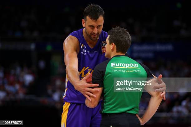 Andrew Bogut of the Kings speaks to the referee during the round 14 NBL match between the Sydney Kings and the Adelaide 36ers at Qudos Bank Arena on...