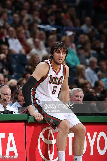 Andrew Bogut of the Milwakee Bucks during the game against the Sacramento Kings on on March 23 2011 at the Bradley Center in Milwaukee Wisconsin NOTE...