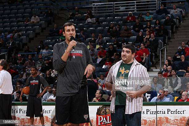 Andrew Bogut of the Milwaukee Bucks addresses fans during the Milwaukee Bucks open practice on December 14 2011 at the Bradley Center in Milwaukee...