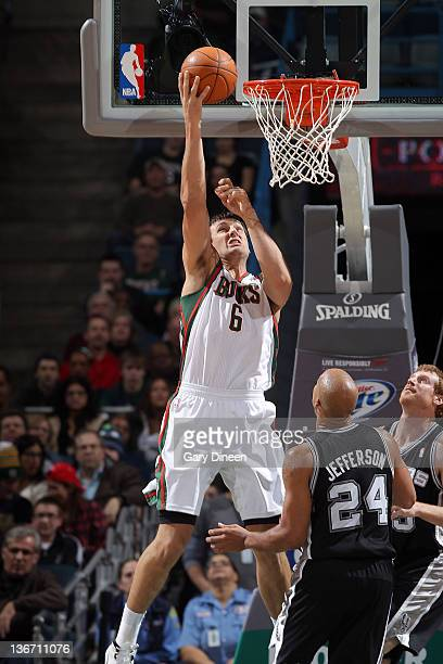 Andrew Bogut of the Milwaukee Bucks goes to the basket during the second quarter against the San Antonio Spurs on January 10 2012 at the Bradley...