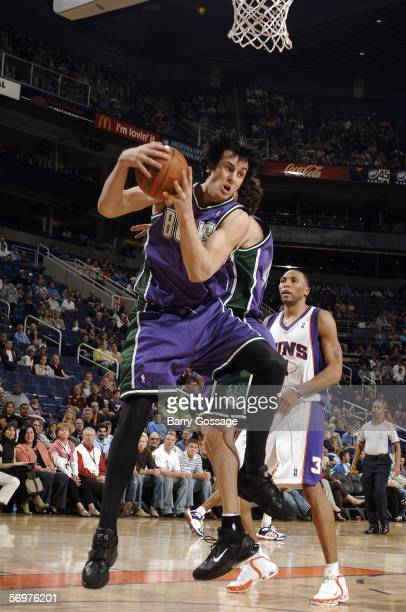 Andrew Bogut of the Milwaukee Bucks pulls down a rebound against the Phoenix Suns on March 1 2006 at US Airways Center in Phoenix Arizona The Suns...