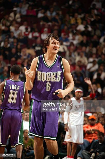 Andrew Bogut of the Milwaukee Bucks reacts against the Philadelphia 76ers on November 1 2005 at the Wachovia Center in Philadelphia Pennsylvania NOTE...