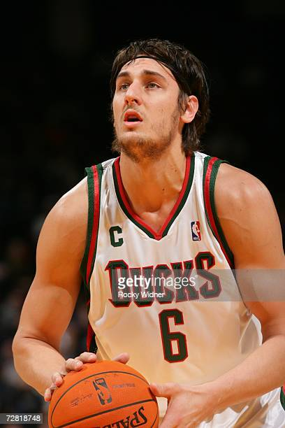 Andrew Bogut of the Milwaukee Bucks shoots a free throw against the Golden State Warriors on December 2 2006 at Oracle Arena in Oakland California...