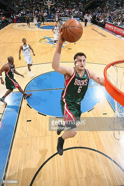 Andrew Bogut of the Milwaukee Bucks takes the ball to the basket against the Washington Wizards during the game at the Verizon Center on April 2 2008...