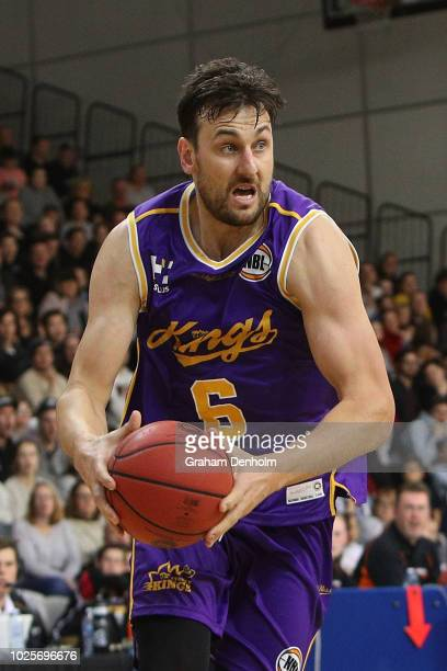Andrew Bogut of the Sydney Kings drives at the basket during the NBL preseason match between Melbourne United and the Sydney Kings at State...