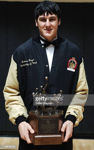 Andrew Bogut of the University of Utah holds the 2005 John R Wooden Award at the John R Wooden ceremonies at the Los Angeles Athletic Club in Los...