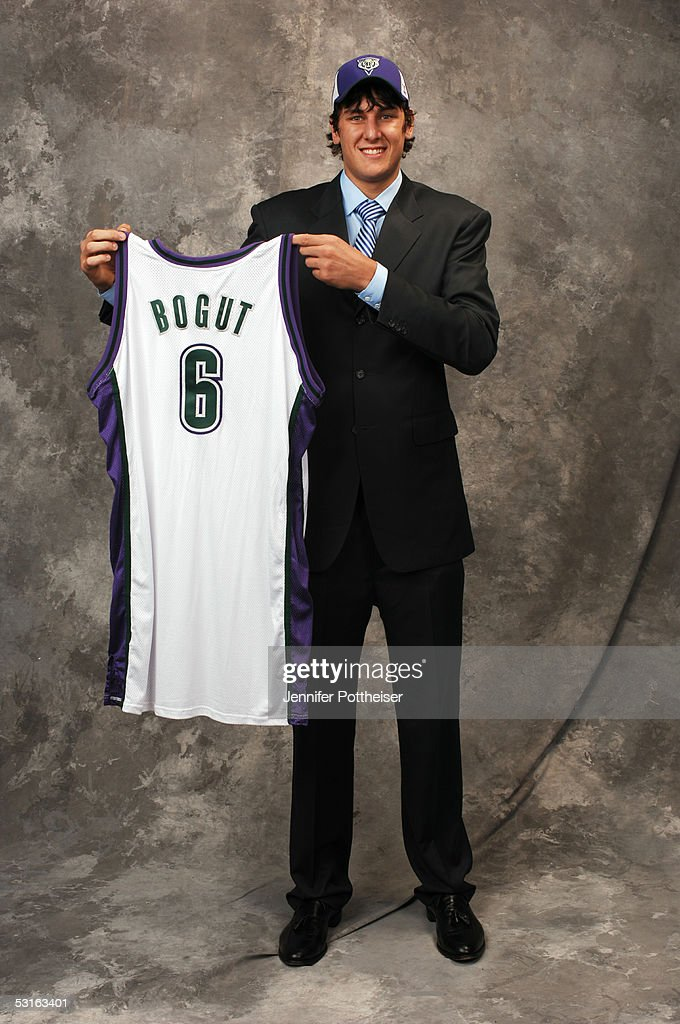 Andrew Bogut poses for a portrait after being selected #1 by the Milwaukee Bucks during the 2005 NBA Draft on June 28, 2005 at the Theater at Madison Square Garden in New York City.