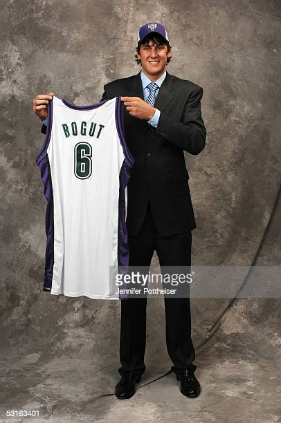Andrew Bogut poses for a portrait after being selected by the Milwaukee Bucks during the 2005 NBA Draft on June 28 2005 at the Theater at Madison...