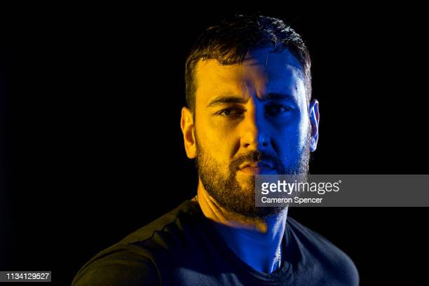 Andrew Bogut poses for a portrait following a press conference announcing his short term contract with the Golden State Warriors at Qudos Bank Arena...