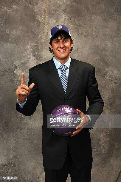 Andrew Bogut selected by Milwaukee Bucks poses for a portrait during the 2005 NBA Draft on June 28 2005 at the Theater at Madison Square Garden in...