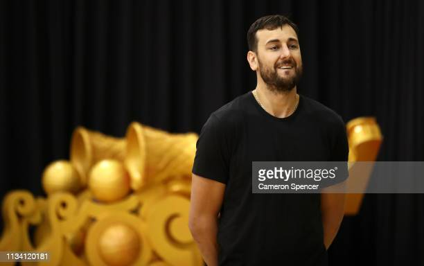 Andrew Bogut speaks to the media during a press conference announcing his short term contract with the Golden State Warriors at Qudos Bank Arena on...