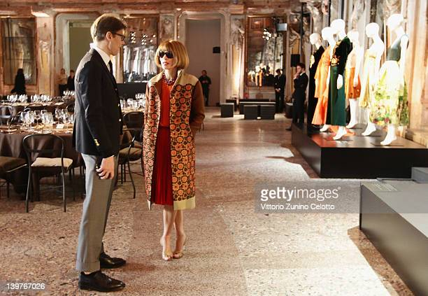 Andrew Bolton and Anna Wintour attend the Miuccia Prada And Elsa Schiapparelli Impossible Conversations opening exhibition during Milan Womenswear...