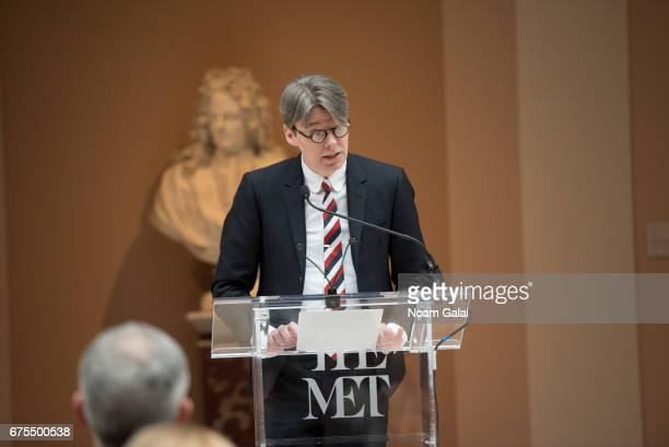 Andrew Bolton attends the 'Rei Kawakubo/Comme des Garcons: Art Of The In-Between' Costume Institute Gala press preview at Metropolitan Museum of Art...