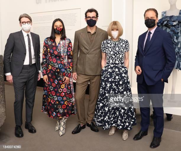 "Andrew Bolton, Eva Chen, Adam Mosseri, Anna Wintour, and Max Hollein attend the press preview for ""In America: A Lexicon of Fashion"" at Metropolitan..."