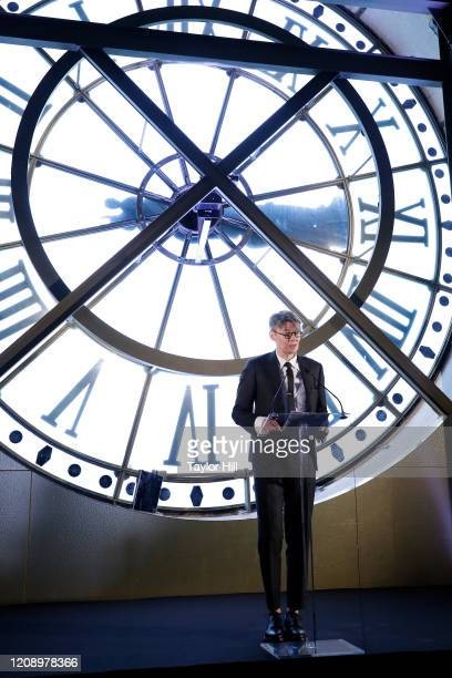 Andrew Bolton speaks during the press preview of About Time Fashion and Duration the 2020 Metropolitan Museum of Art Costume Institute exhibition at...