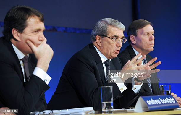 Andrew Bonfield Cadbury Chief Finance Officer Cadbury Chairman Roger Carr and Todd Stitzer Cadbury Chief Executive give a press conference at Goldman...