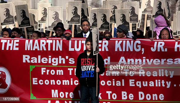 Andrew Boudreaux leads the procession of the annual Martin Luther King Jr Memorial March in Raleigh North Carolina Monday January 16 2012 Thousands...