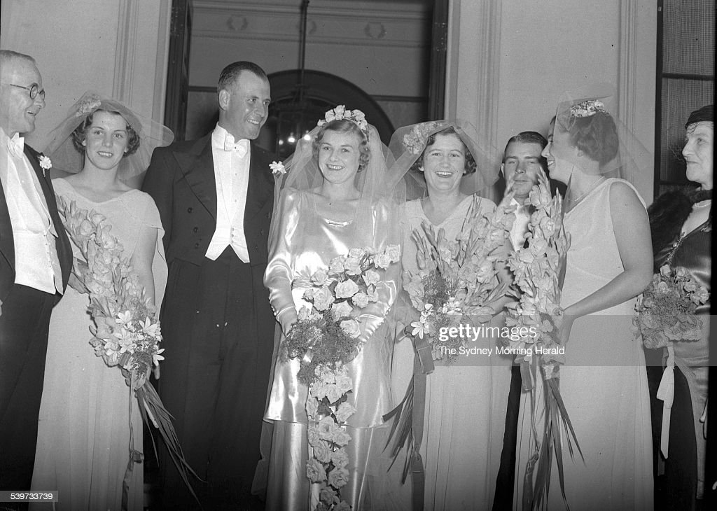 Andrew 'Boy' Charlton marries at St Marks in Sydney, 20 March 1937. SMH Picture : News Photo