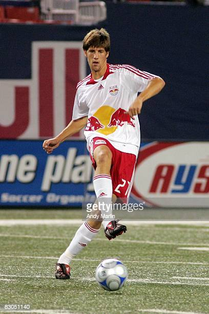 Andrew Boyens of the New York Red Bulls plays the ball against the Colorado Rapids during their game at Giants Stadium on September 27, 2008 in East...