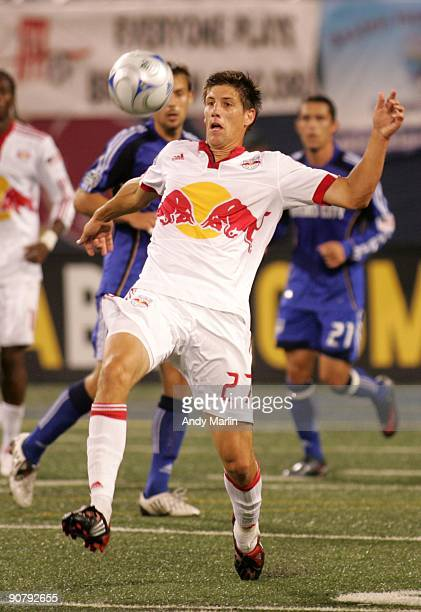 Andrew Boyens of the New York Red Bulls plays the ball against the Kansas City Wizards during their game at Giants Stadium on September 12 2009 in...
