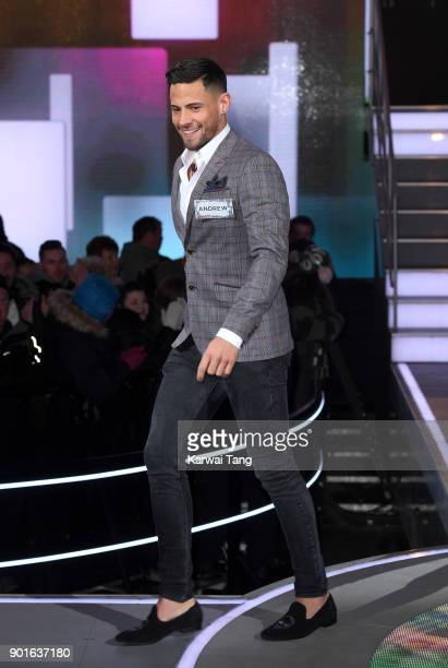 Andrew Brady enters the Celebrity Big Brother house at Elstree Studios on January 5 2018 in Borehamwood England