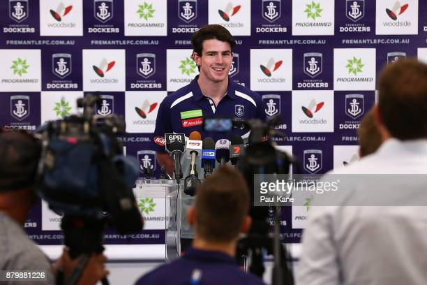 Andrew Brayshaw addresses the media following a Fremantle Dockers AFL preseason training session at Victor George Kailis Oval on November 27 2017 in...