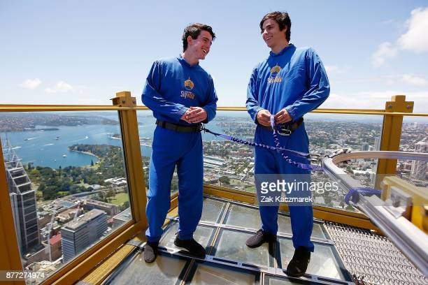 Andrew Brayshaw and Darcy Fogarty admire the scenic view during an AFL Draft media opportunity at Sydney SKYWALK on November 22 2017 in Sydney...