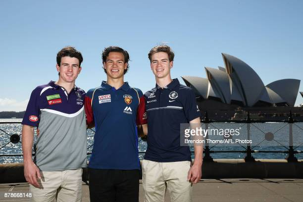 Andrew Brayshaw of the Dockers Cameron Rayner of the Lions and Paddy Dow of the Blues pose during a media opportunity at Hickson Road Reserve on...