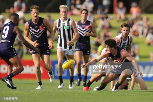 Andrew Brayshaw of the Dockers contests for the ball during the 2019 JLT Community Series AFL match between the Fremantle Dockers and the Collingwood...