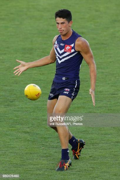 Andrew Brayshaw of the Dockers kicks the ball during the JLT Community Series AFL match between the Fremantle Dockers and the West Coast Eagles at...