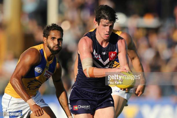 Andrew Brayshaw of the Dockers looks to pass the ball during the 2019 JLT Community Series AFL match between the Fremantle Dockers and the West Coast...