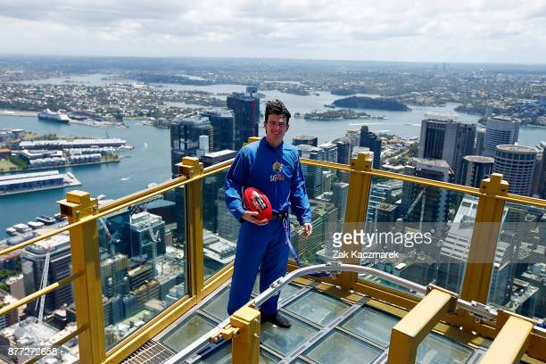 Andrew Brayshaw poses for a portrait during an AFL Draft media opportunity at Sydney SKYWALK on November 22 2017 in Sydney Australia
