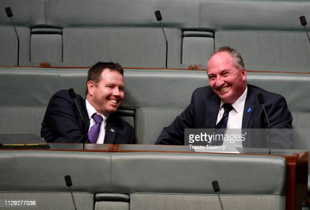 Andrew Broad and Barnaby Joyce during Question Time in the House of Representatives at Parliament House on February 13, 2019 in Canberra, Australia....