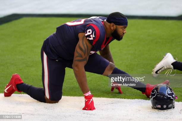 Andrew Brown of the Houston Texans looks on against the Tennessee Titans during a game at NRG Stadium on January 03, 2021 in Houston, Texas.