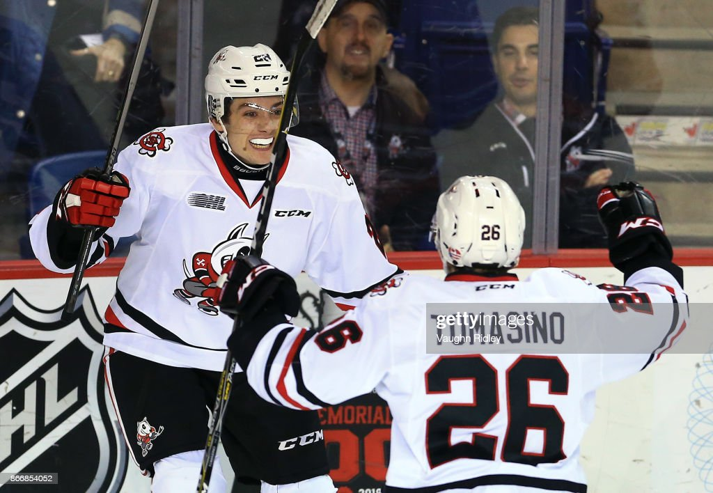 Andrew Bruder #28 of the Niagara IceDogs celebrates a goal with Philip Tomasino #26 during an OHL game against the Oshawa Generals at the Meridian Centre on October 26, 2017 in St Catharines, Ontario, Canada.