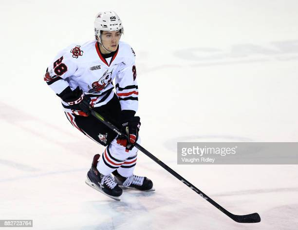 Andrew Bruder of the Niagara IceDogs skates during an OHL game against the Ottawa 67's at the Meridian Centre on November 24 2017 in St Catharines...