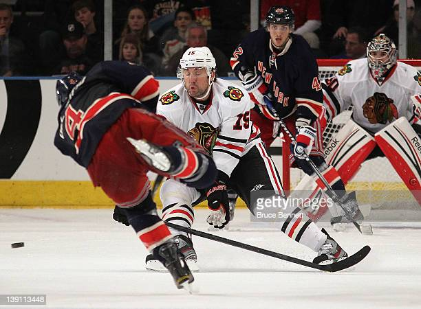 Andrew Brunette of the Chicago Blackhawks attempts to block a shot against the New York Rangers at Madison Square Garden on February 16 2012 in New...