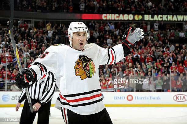 Andrew Brunette of the Chicago Blackhawks celebrates after the Blackhawks scored against the Toronto Maple Leafs on February 29 2012 at the United...