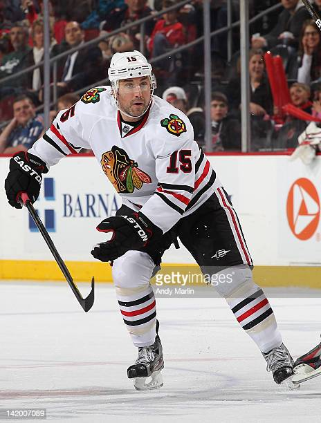 Andrew Brunette of the Chicago Blackhawks skates against the New Jersey Devils during the game at the Prudential Center on March 27 2012 in Newark...