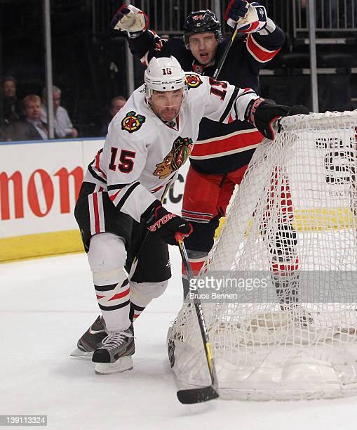 Andrew Brunette of the Chicago Blackhawks skates against the New York Rangers at Madison Square Garden on February 16 2012 in New York City The...