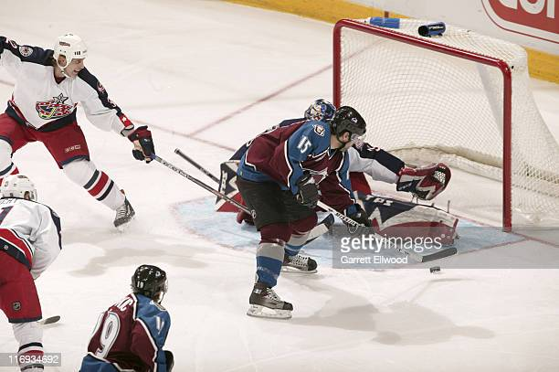 Andrew Brunette of the Colorado Avalanche shoots on goal during the game against the Columbus Blue Jackets on January 7 2006 at Pepsi Center in...