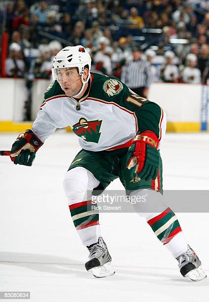 Andrew Brunette of the Minnesota Wild skates against the Buffalo Sabres during their NHL preseason NHL game on September 28 2008 at HSBC Arena in...