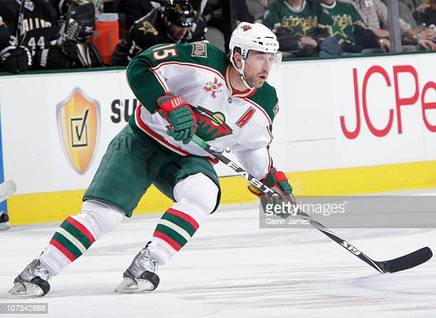 Andrew Brunette of the Minnesota Wild skates against the Dallas Stars on December 4 2010 at the American Airlines Center in Dallas Texas The Stars...