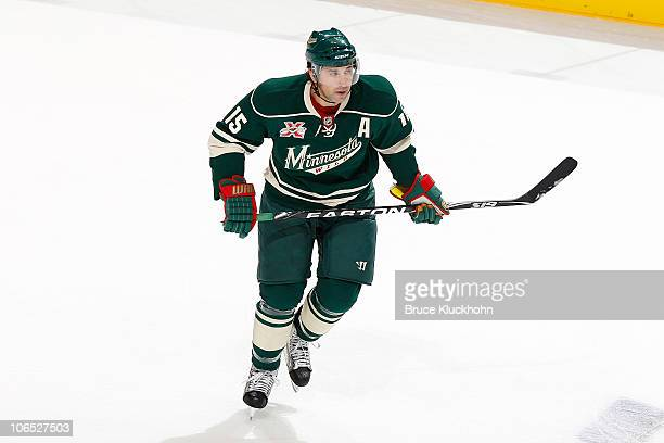 Andrew Brunette of the Minnesota Wild skates against the Los Angeles Kings during the game at the Xcel Energy Center on October 25 2010 in Saint Paul...