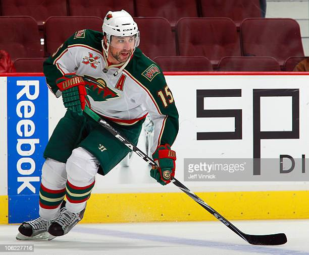 Andrew Brunette of the Minnesota Wild skates up ice during a game against the Vancouver Canucks at Rogers Arena on October 22 2010 in Vancouver...