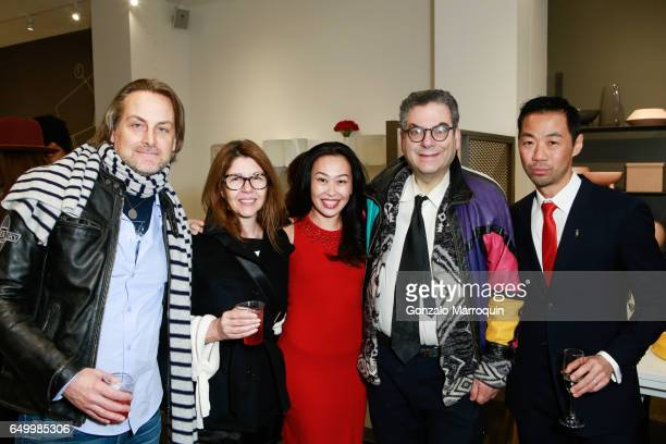 Andrew Brunger Sally Randall Brunger Niki Cheng Michael Musto and Shaokao Cheng attended the Calligaris SoHo Grand Opening on March 8 2017 in New...