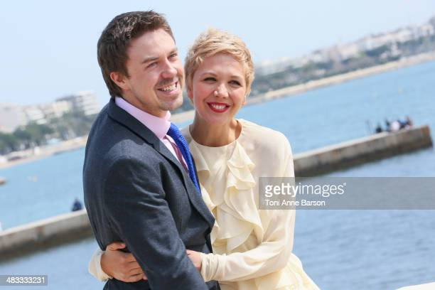 Andrew Buchan and Maggie Gyllenhaall attend photocall for Honourable Woman at MIPTV 2014 at Hotel Majestic Jetty on April 7 2014 in Cannes France